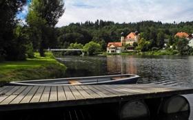 Обои лес, деревья, мост, река, дома, Германия, Бавария