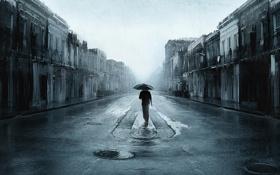 Картинка ночь, город, одиночество, человек