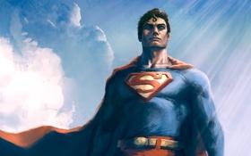 Обои superman, плащ, dc comics, superhero, кларк кент, clark kent, Kal-El
