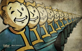 Обои шаг, Vault-boy, Fallout, New Vegas, стройный