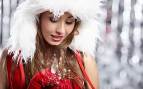 Картинка белый, девушка, красный, улыбка, праздник, новый год, удивление