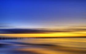 Картинка море, небо, пейзаж, закат, стиль