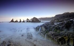 Обои landscape, Asturias, playa, long exposure, seaescape