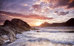 Обои пляж, берег, скалы, волны, море, расвет