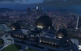 Обои город, лос сантос, gta 5, Grand Theft Auto V, ночь, обсерватория