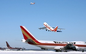 Обои Небо, Самолет, День, Крылья, Boeing, Авиация, Много