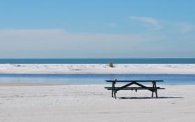 Картинка песок, море, пляж, лето, скамья
