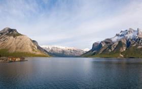Обои горы, вода, озеро, дома, рябь
