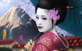 Обои девушка, азия, гора, зонт, сакура, арт, гейша