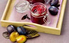 Обои plums, варенье, jam, сливы, Bank, leaves, банка