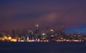 Картинка ночь, город, огни, вечер, Сиэтл, США, боке
