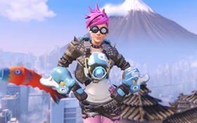 Картинка девушка, очки, костюм, punk, tracer, overwatch, Lena Oxton