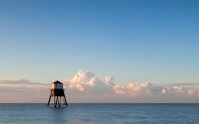 Картинка море, облака, дом, океан, здание, горизонт