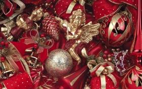 Обои зима, шарики, игрушки, ангелы, Новый Год, Рождество, красные