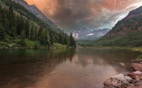 Картинка США, лес, горы, Колорадо, озеро, тучи