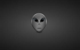 Обои серый, черно-белый, минимализм, голова, инопланетянин, пришелец