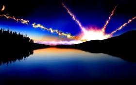 Картинка лес, небо, звезды, лучи, горы, ночь, озеро