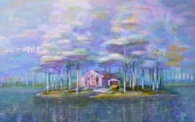 Картинка дом, река, картина, Iblard Jikan
