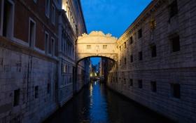 Обои небо, Италия, Венеция, дворец дожей, мост Вздохов, Дворцовый канал