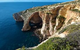 Обои Мальта, мыс, арка, небо, голубой грот, скалы, море