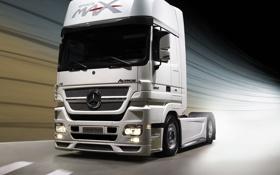Обои дорога, голова, тент, грузовик, Mercedes, Benz, 2012