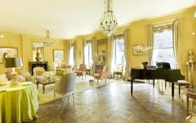 Обои дизайн, жилая комната, East-Side, квартира, мегаполис, интерьер, стиль