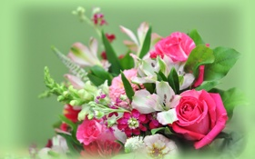 Картинка листья, роза, лилия, букет