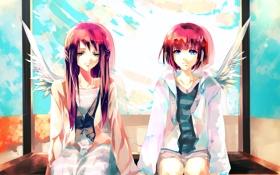 Картинка небо, облака, девочки, крылья, art, сидят, Aiki-ame