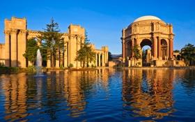 Обои пантеон, пруд, небо, беседка, колонна, арка, деревья