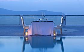 Картинка бассейн, ужин, океан, бокалы, вид, вечер, вино