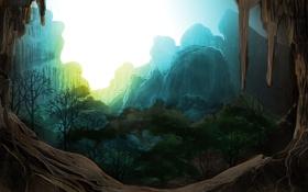 Обои закат, скалы, деревья, арт, горы, грот