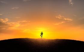 Обои небо, свет, закат, человек