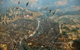 Картинка птицы, город, река, высота, полёт, вид сверху, кварталы
