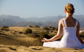 Обои лето, девушка, спина, медитация, сидит