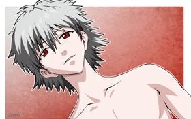 Обои Neon Genesis Evangelion, red eyes, look, naked, kaworu nagisa