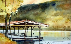 Обои природа, река, акварель