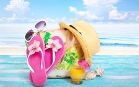 Обои пляж, лето, отдых, шляпа, бассейн, очки, summer
