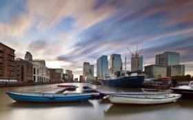 Обои город, Лондон, лодки