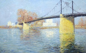 Обои небо, деревья, пейзаж, река, картина, Гюстав Луазо, Подвесной мост в Триэль-сюр-Сен