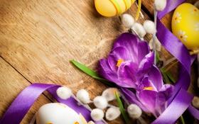 Картинка цветы, ветки, ленты, яйца, лепестки, верба