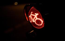 Обои свет, красный, велосипед, светофор, знак. стоп
