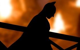 Картинка бэтмен, силуэт, маска, плащ, Batman