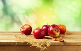 Картинка яблоки, нож, мешковина