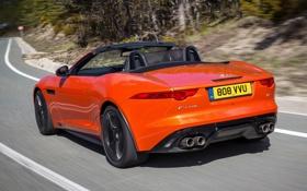 Картинка авто, скорость, Jaguar, кабриолет, задок, F-Type, V8 S