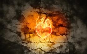 Картинка свет, трещины, стена, пламя, сердце