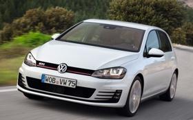 Обои авто, белый, Volkswagen, передок, Golf, GTI, 5-door
