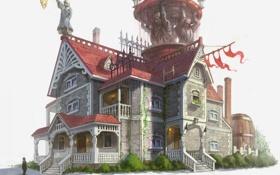 Обои человек, Дом, лестницы, балкон, флаги, скульптуры