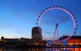 Обои колесо, река, лондон