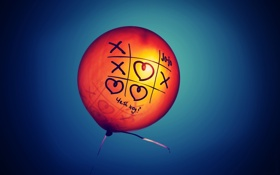 Обои лучи, шарик, день, сердечко, крестик, солнца, Настроения