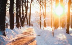 Обои снег, город, фонарь, Россия, Russia, Калуга, Kaluga